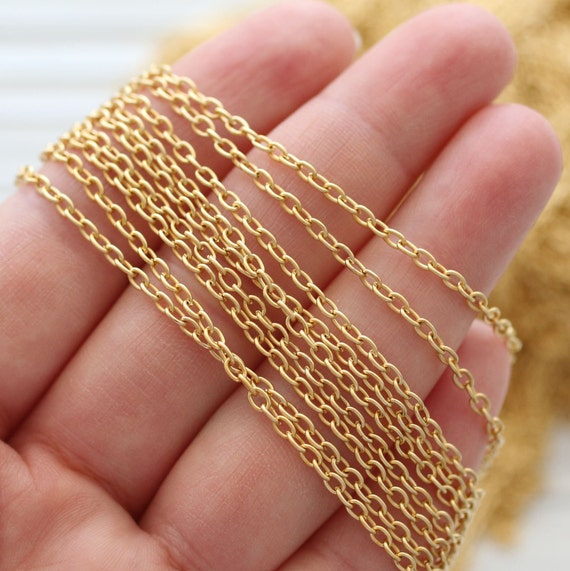 3.3 feet 4mm gold cable chain, 24K gold plated cable chain, chain, matte gold chain, gold chain, necklace chain, jewelry chain, cable chain