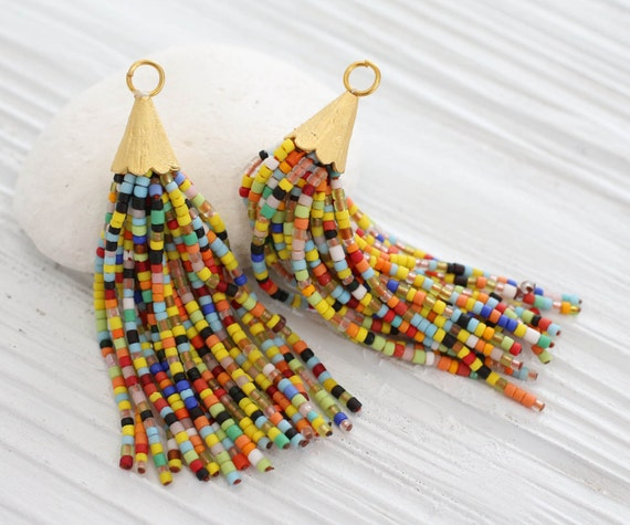 Multicolor beaded tassel, short bead tassel, gold cap tassel, multi color beads tassel, matrix tassel, beaded earring necklace tassel, N16