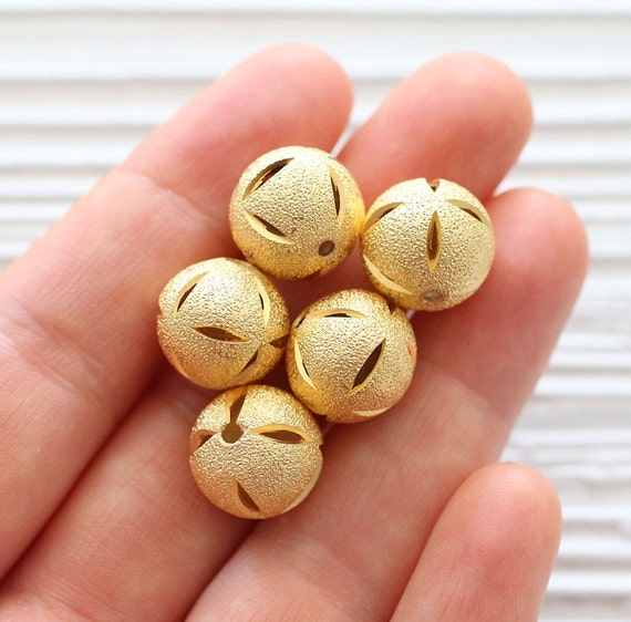 5pc round shimmer gold metal beads, hammered metal beads gold, textured gold beads, necklace beads, matte gold beads, boho rustic ball beads