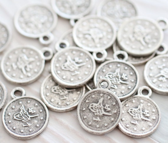 10pc silver coins, earring charms, metal round beads, rustic, coin charms, metal charms, flat coin, bracelet charms, necklace charms, L