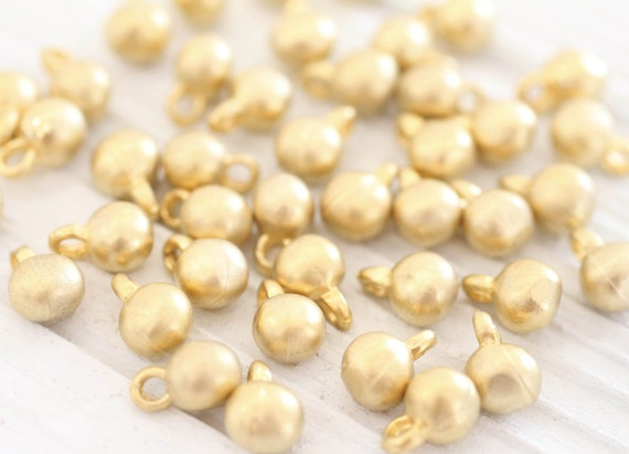 10pc gold ball charms, earring charms, bracelet charms, metal earring beads, metal round charms, boho beads, rustic charms, gold ball beads
