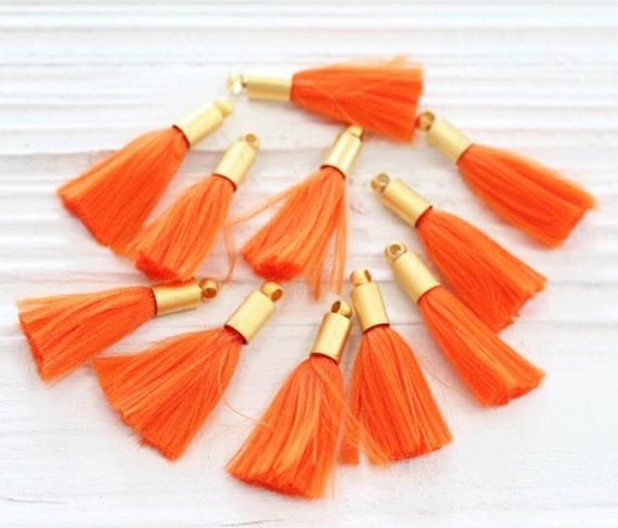 2pc orange tassel, mini tassels with gold cap, tassel pendant, earrings tassel, bracelet tassel charm, short thread tassel, papaya, N26