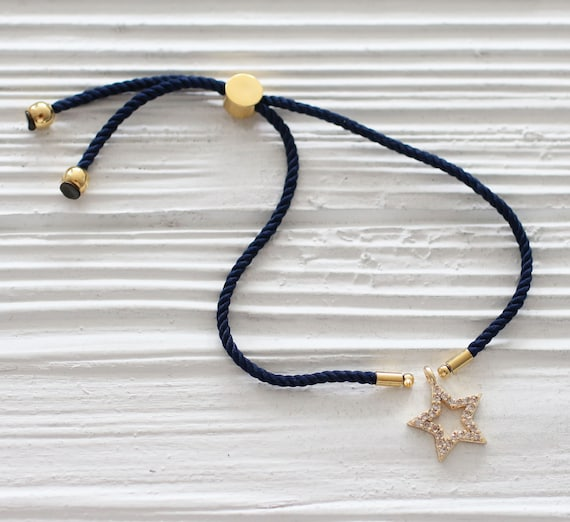 Adjustable navy cord bracelet, DIY string bracelet blank, semi-ready bracelet with gold sliding stopper, navy blue friendship bracelet,N17