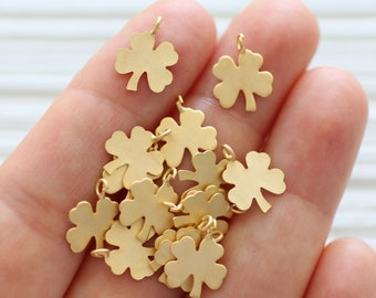 10pc four leaf clover charms, dainty charm pendant, earring charms, 4 leaf clover, bracelet charms, matte gold metal beads, necklace charms