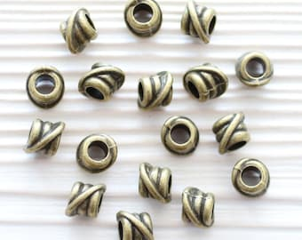 5pc antique gold tube beads, large hole beads, bracelet beads, antique spacers, rondelle, barrel beads, large beads, tribal rustic beads
