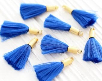 2pc cobalt blue tassel with gold cap, mini tassels, tassel pendant, gold cap tassel charm, earrings tassel, bracelet necklace tassel, N16