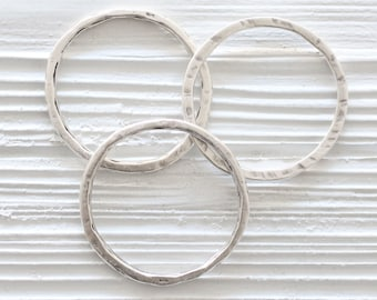 2pc silver round hoop pendant, round connector, silver link, circle pendant, thin necklace rings, organic shape, earrings hoops, hammered