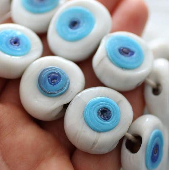 2pc white evil eye beads flat glass beads lamp work beads Etsy
