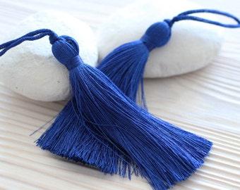 Blue silk tassel, cobalt, large silk tassel, thick tassel, jewelry tassels, tassel, decorative tassels, silk mala tassel, tassel pendant,N16