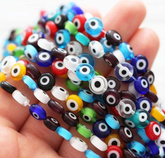 20pc-8mm multicolor evil eye beads, DIY bracelet beads, round evil eye beads, flat evil eye glass beads, lamp work beads, lucky evil eye,EE8