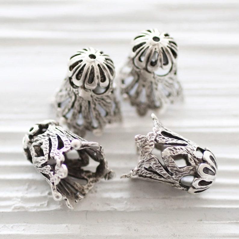 2pc large silver filigree bead cap antique silver tassel image 0