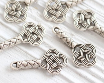 2pc silver key pendant, silver filigree key, key charm silver, earrings dangle, metal key, key, key connector, key findings, antique silver