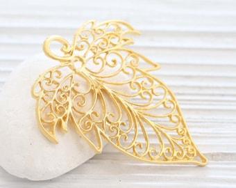 Gold filigree leaf pendant, large filigree leaf, filigree pendant, boho leaf, gold pendants, large pendants, filigree findings, tribal leaf