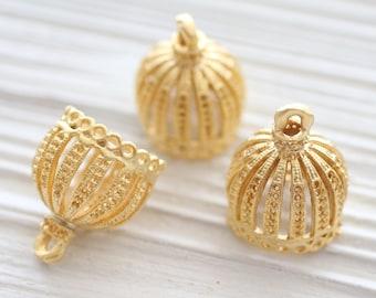2pc gold filigree tassel cap, metal bead caps, gold bead cones, large gold end caps, ornate tassel cap, tribal bead cap, rustic crown cap, L