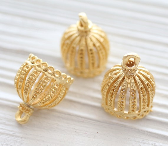 Gold filigree tassel cap, metal bead caps, gold bead cones, large gold end caps, ornate tassel cap, tribal bead cap, rustic crown cap, L