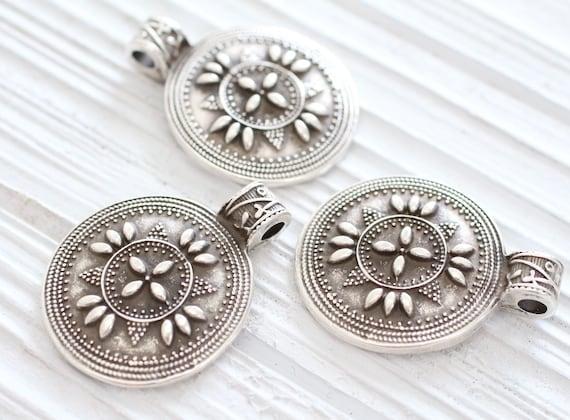 Flower pendant silver, tribal pendant, boho findings, silver pendant, embellished round pendant, flower, rustic, hammered, ornate pendant