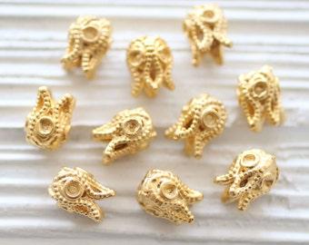 4pc gold mini tassel cap, matte gold bead cap, mini bead cones, end caps, tribal, mini bead cap, flower tassel cap, hammered bead cap