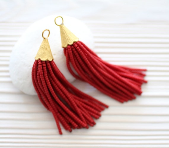Red short beaded tassel, tassel earrings, jewelry tassels, boho tassel, bead tassels, decorative tassels, tribal tassel, necklace tassel, N9
