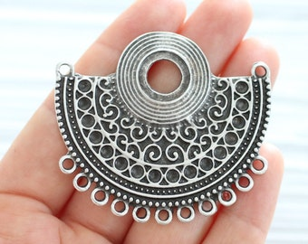 Large multi strand pendant, tribal connector, silver connector, large connector, multistrand, large crescent, rustic, focal bezel pendant