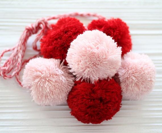 Red pink pom pom hanging decor, pom pom purse charm, pom poms swag charm, pom poms curtain tie back, door knob hanger, knob decor, car charm