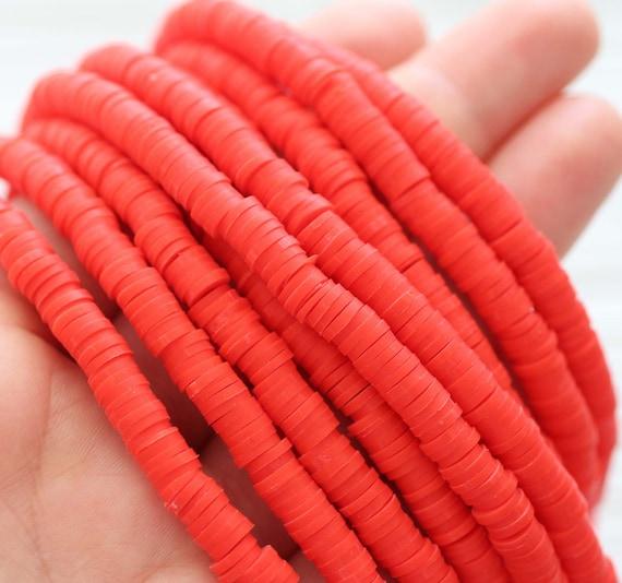 """16"""", red vinyl beads, polymer beads red, heishi beads, polymer clay beads, 5mm round vinyl beads, spacer beads, full strand vinyl beads"""