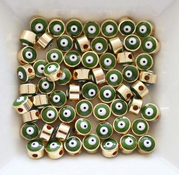 5pc, 7mm green evil eye beads, round beads, DIY bracelet beads, earrings lucky beads, necklace, bracelet slider beads, spacer beads, EE7M