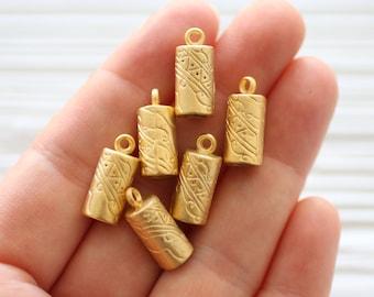 2pc gold end caps, tassel caps, bead cones, gold cord end caps, leather end caps, tribal tassel cap, matte gold, gold bead caps