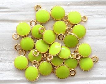 10pc lime yellow charm, enamel charms, mini round gold charms, Christmas charms, earrings charm, bracelet dangle, mini yellow pendant, lime
