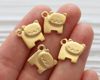 10pc cat charms, animal charms, gold cat charms, dangles charms, mini cat pendant, kitten charms, cat collar charm, bracelet,earrings dangle
