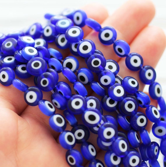 20pc-8mm navy blue evil eye beads, round evil eye beads, flat evil eye glass beads, lamp work beads, lucky evil eye, DIY bracelet beads, EE8