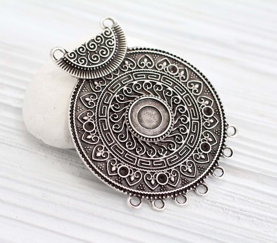 Tribal pendant connector, large antique silver pendant,  multi strand, silver round pendant, large pendant, large tribal pendant, rustic