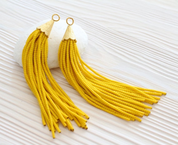 Yellow bead tassel, long tassels, gold cap tassel, tassel pendant, tassels for jewelry, boho tassel, tribal, tassel earrings,large tassel,N3