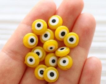 15pc-10mm yellow evil eye beads, flat glass beads, lamp work beads, golden, yellow evileye, glass beads,handmade, round evileye beads, EE10