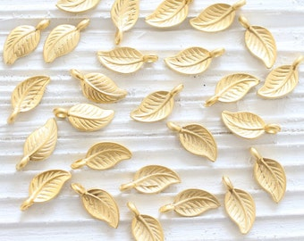 10pc gold leaf charms, earring charms, gold leaf, mini charms, necklace charms gold, bracelet charms, mini leaf pendant, matte gold findings