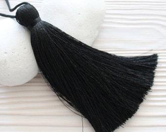 Black silk tassel, extra thick tassel, large tassels, silk tassel, mala tassel, tassel, handmade tassels,decorative tassels,black tassel,N8