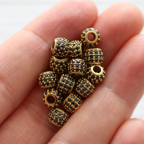 3pc, 6mm black rhinestone rondelle beads, gold rhinestone beads, pave beads, Christmas jet stone beads, rondelles, bead spacers, large hole