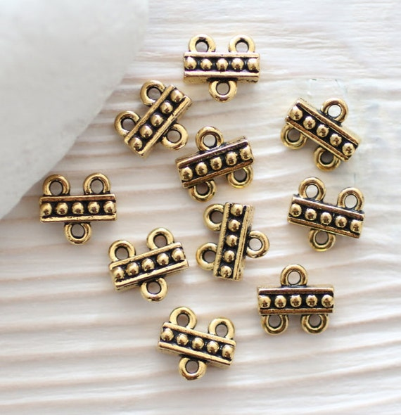 4pc antique gold connector, multi strand connector, necklace connectors,gold connectors,gold links,end bar,gold beads,metal beads,TierraCast