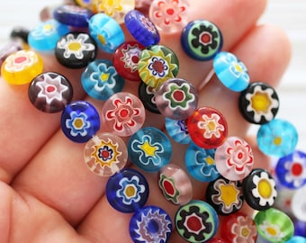 15pc-10mm multicolor patterned beads, flower beads, flat glass beads, lamp work beads, blue, yellow, green round glass jewelry beads, EE10