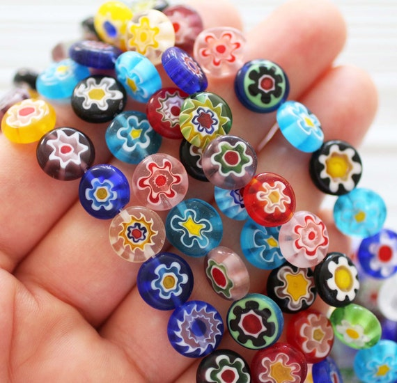 15pc-10mm multicolor patterned beads, flower beads, flat glass beads, lamp work beads, blue, yellow, white, green round glass jewelry beads