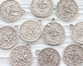 10pc large silver coins, coin charm, rustic coins, silver round charms, silver coins, flat coins, bracelet earring charms, old coins, XL