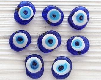 5pc blue evil eye beads, flat glass beads, lamp work beads, navy blue, blue large evil eye, glass beads, organic shaped glass beads, DIY