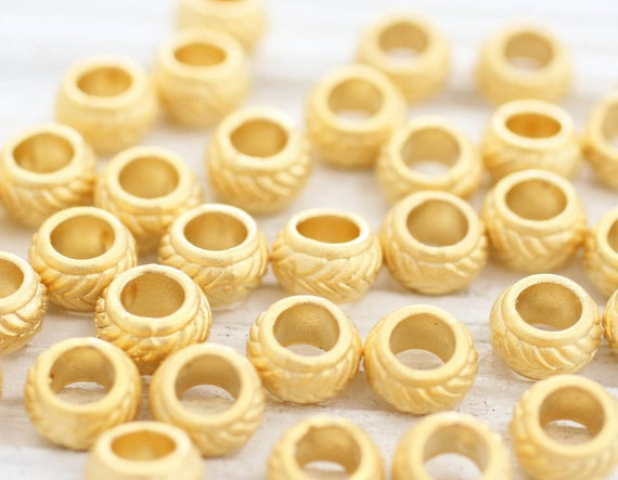 10pc matte gold rondelle beads, heishi beads, gold rondelle, gold heishi, metal spacer beads, metal beads, large hole beads, bead spacers