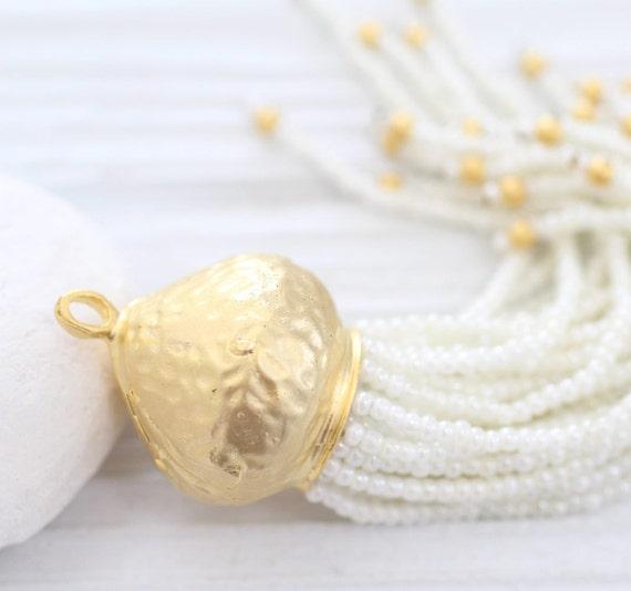 Ivory beaded tassel with large rustic gold cap, long beaded tassel, handmade, ivory pearl seed bead tassel, unique tassel pendant, tassel