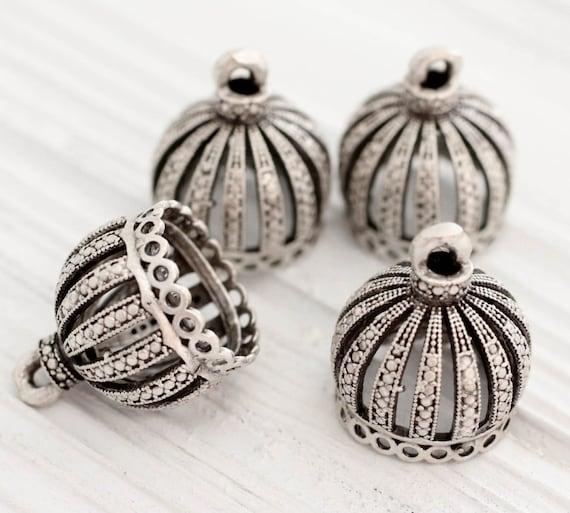 Silver filigree tassel cap, large crown metal bead caps, silver bead cones, large silver end caps, ornate tassel cap, tribal bead cap