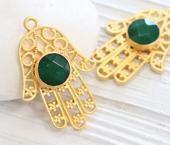 Gold filigree Hamsa pendant with gemstone, green jade pendant, gold Hamsa pendant, gemstone pendant, filigree jade pendant, Hand of Fatima