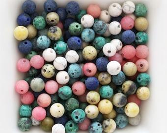40pc, 6mm jade beads, semi precious gemstones, loose gemstones, gemstone beads, rondelle gemstone, necklace beads, bracelet beads, marbled
