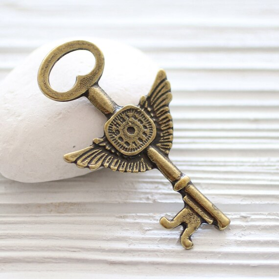 Key pendant large key pendant angle wings clock pendant vintage and old look key pendant key medallion rustic key antique gold key