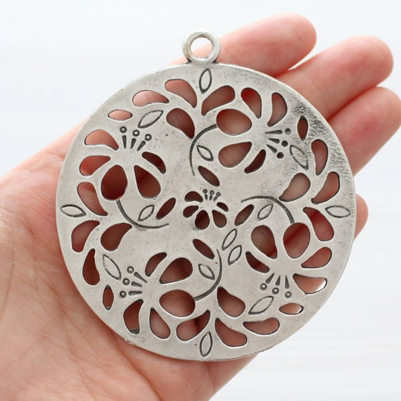 Large tribal medallion, flower cut out pendant, flower pendant, round tribal pendant, silver medallion, artisan, rustic silver pendant
