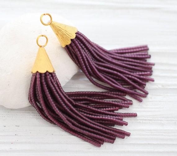Purple bead tassel, beaded tassel, gold cap tassel, decorative tassels, beaded earrings tassel, necklace tassel,tassels for jewelry,plum,N19