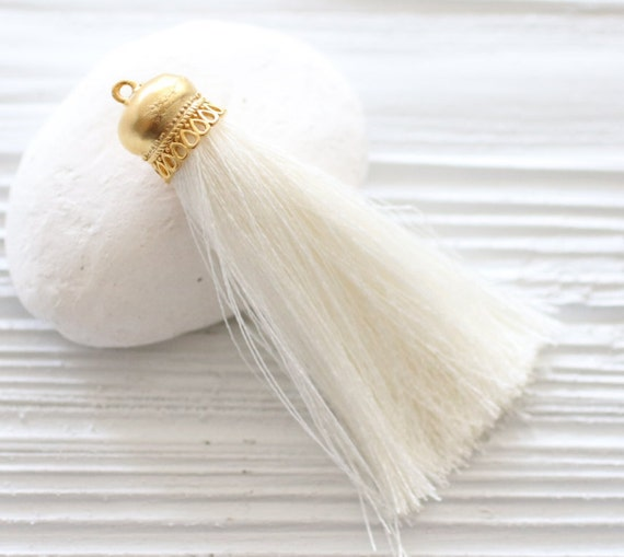 Ivory silk tassel, gold cap silk tassel, tassels for jewelry, silk necklace tassel,silk tassel pendant,pearl silk tassel,off white tassel,N2